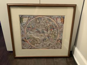 Antique Celestial / Angelic /Biblical Scene Print - Wood and Glass Framed for Sale in Lisle, IL