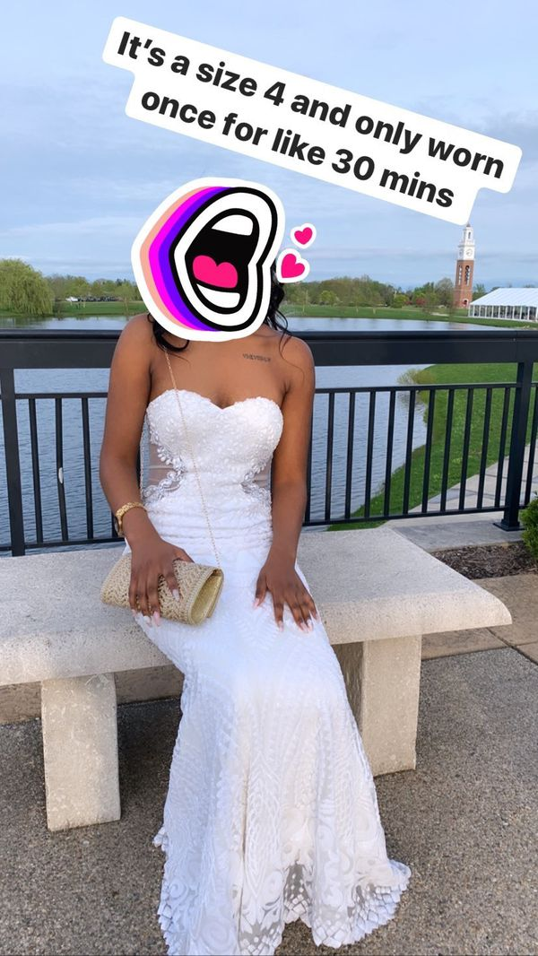 Long beaded white formal dress SIZE 4