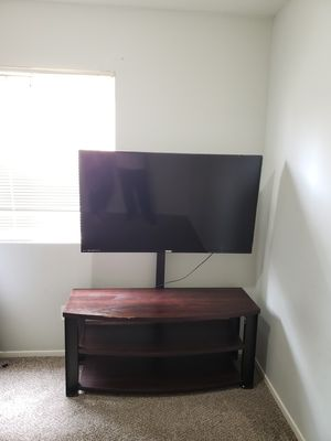 Cherry Wood Queen Size Sleigh Bed Frame Head & Foot Board Side Rails & TV stand for Sale in Lodi, CA