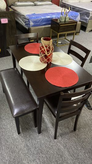 Dark Brown Breakfast Table with 3 Chairs and Bench 3995E for Sale in Bedford, TX