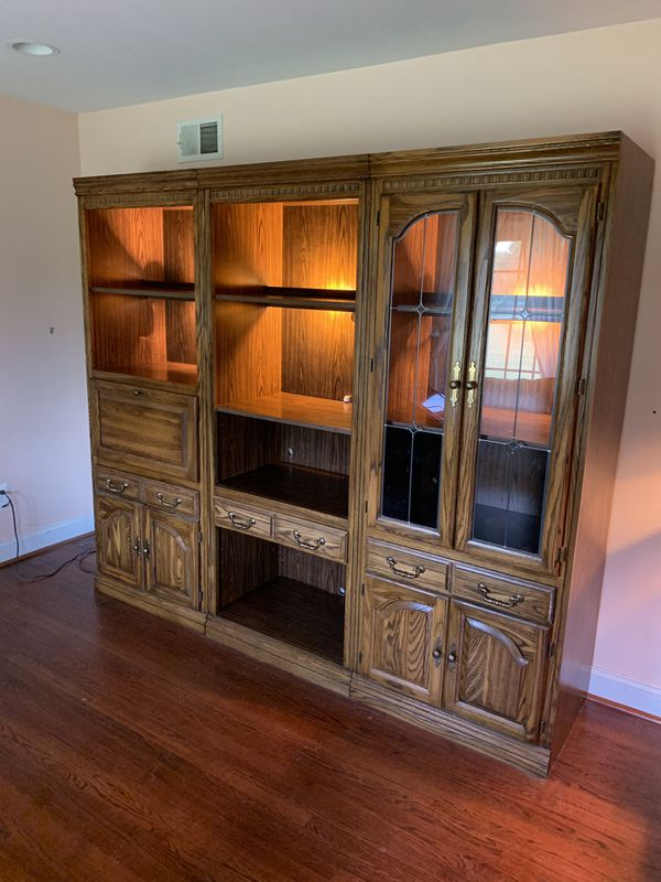 """Wall unit. 3 separate pieces. Each piece 30"""" wide, 78"""" tall and 20"""" deep"""