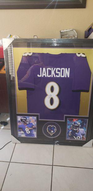 Lamar Jackson jersey signed framed jsa coa for Sale in Las Vegas, NV
