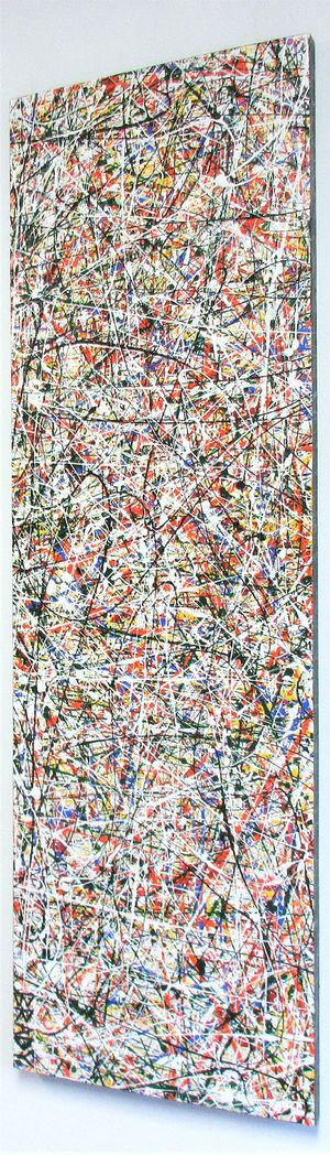 36x12 ORIGINAL POLLOCK STYLE DRIP ART PAINTING ON BOARD. MOUNTING BRACKETS APPLIED ALLOWING ITEM TO BE HUNG EITHER WAY. for Sale in Cincinnati, OH