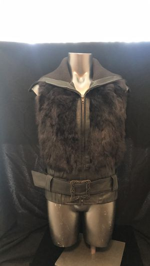 Heart Moon Star Brown Leather Rabbit Fur Vest XS for Sale in San Jose, CA