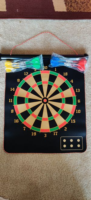 Magnetic dart board indoor and outdoor dart games..for kids with 12 PC's magnetic darts, safety toy game's roll-up double sided board for Sale in Daniels, MD