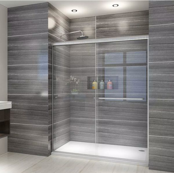 "60"" W x 72"" H Both Sliding Shower Door, 1/4"" Thick Glass, Chrome Finish"