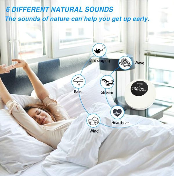 Wake- Up Light,Sunrise Alarm Clock, Wake Up Light Bluetooth Speakers Colored Atmosphere Lamp|Sleep Aid 6 Nature Sounds for Baby,Travel Bedrooms Office