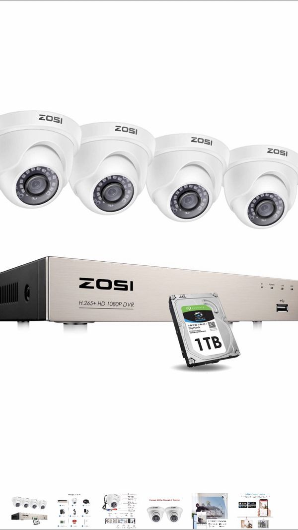 ZOSI Security Cameras System with 1TB Hard Drive,H.265+ 5MP Lite 8Channel HD-TVI DVR Recorder and 4pcs 1080P HD 1920TVL Indoor Outdoor Surveillance C