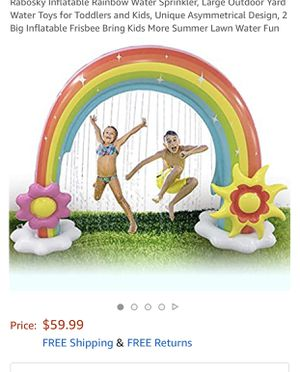 Inflatable Rainbow Water Sprinkler, Large Outdoor Yard Water Toys for Toddlers and Kids, Unique Asymmetrical Design, 2 Big Inflatable Frisbee Bring K for Sale in San Jacinto, CA