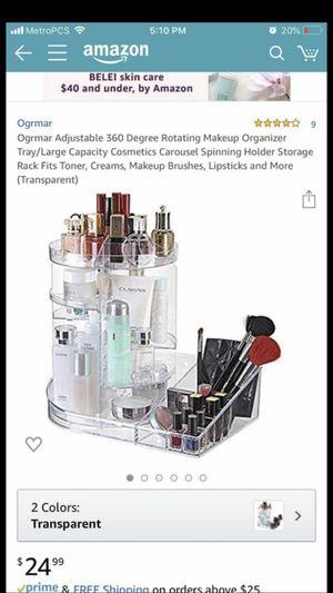 Ogrmar Adjustable 360 Degree Rotating Makeup Organizer Tray/Large Capacity Cosmetics Carousel Spinning Holder Storage Rack Fits Toner, Creams, Makeup for Sale in Santa Fe Springs, CA