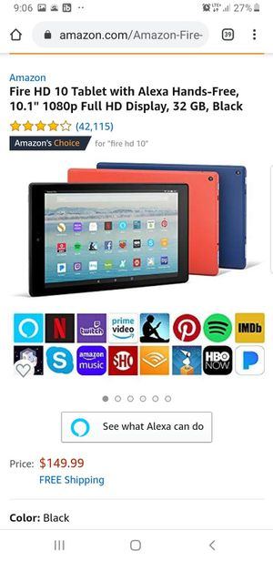 Amazon fire tablet Full HD 10 inch with Alexa voice for Sale in Alexandria, VA