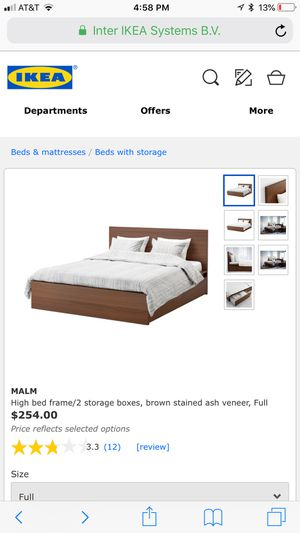 IKEA Malm full bed frame and slats - great condition for Sale in Johnson City, TN