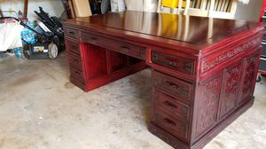 Desk (Ornate) and 4 matching high back chairs - handcrafted Imported Chippendale cherry wood desk and chairs for Sale in Mesquite, TX