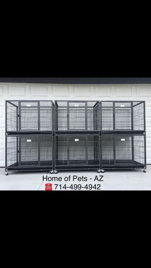 "6 New Stackable 37"" Heavy Duty Kennels w/ Plastic Tray for Sale in Phoenix, AZ"