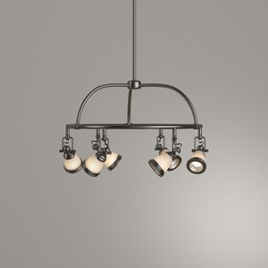 6-Light Antique Pewter Chandelier with Frosted Glass Shades for Sale in Los Angeles, CA