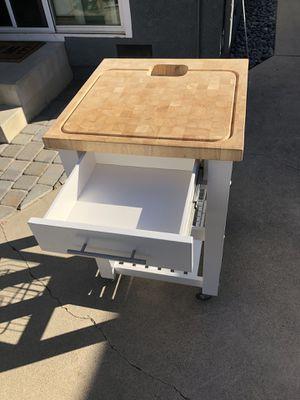 Butcher block rolling cart for Sale in Orange, CA