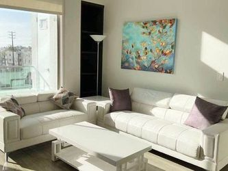 Faux Leather 2-Pc White Mid-Century Sofa Set with Sofa + Loveseat for Sale in Glendale,  CA