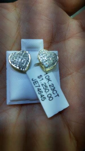 10k gold diamond heart earrings for Sale in Los Angeles, CA