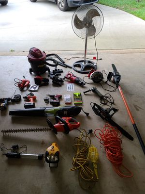 Power tool set drills trimmer fan shop vac chainsaws and more for Sale in Boca Raton, FL