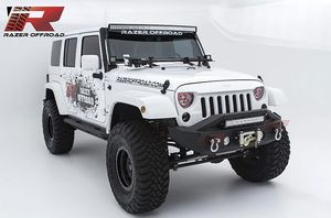 """$260.00 - Razer Auto Black Textured Rock Crawler Stubby Front Bumper with OE Fog Light Hole, 2x D-Ring and Built-In 22"""" LED Light bar mount & Winch M for Sale in Gibsonton, FL"""