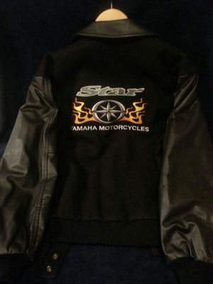 Leather and wool motorcylce jacket for Sale in West Bridgewater, MA