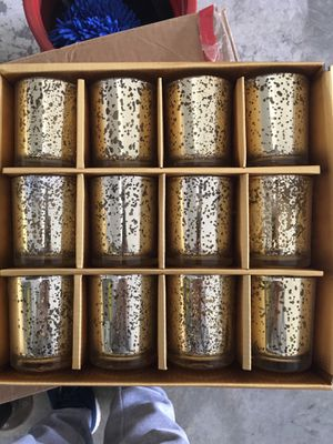 gold candle glass set 12pk 2 sets for Sale in White House, TN