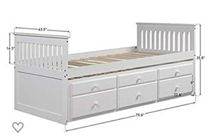 Twin Captain's Bed Storage daybed with Trundle and Drawers for Kids Guests (White) & book shelve for Sale in Las Vegas, NV
