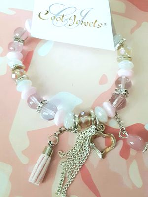 Shipping or PickUp: New silvertone pink and white acrylic bead stretch bracelet with heart charm for Sale in Fullerton, CA
