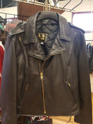 Brand new!! USA made men's heavy leather motorcycle jacket size 46 for Sale in Denver, CO