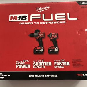 Milwaukee M18 FUEL 18-Volt Lithium-Ion Brushless Cordless Hammer Drill and Impact Driver Combo Kit (2-Tool) with Two 5Ah Batteries for Sale in Garden Grove, CA