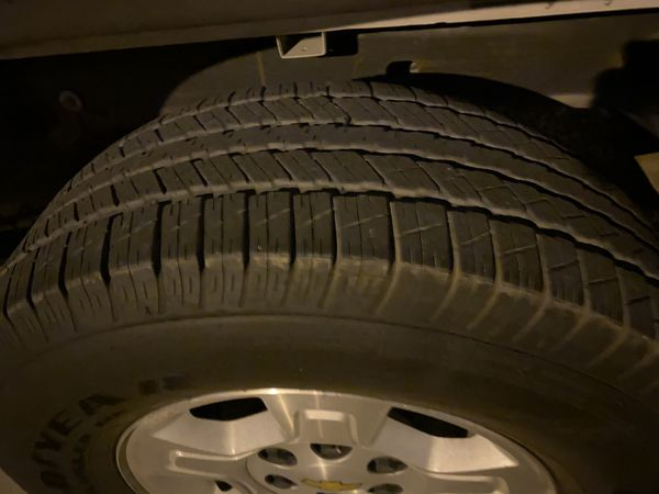 Chevy 6 lug Good Year Wrangler Tires/Rims Set all 4-265/70R17-Have about 90% Life