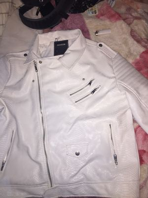 Reason White Snake Leather Jacket for Sale in Bronx, NY