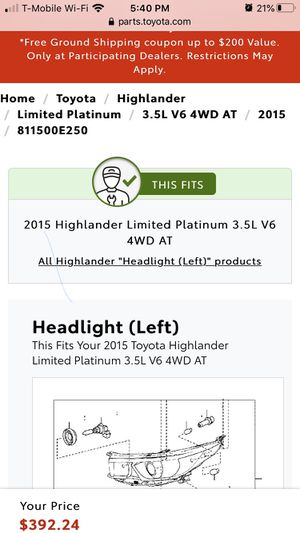 Headlight Assembly Toyota Highlander for Sale in Fort Washington, MD