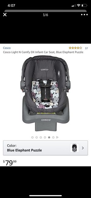 Cosco Light N Comfy DX Infant Car Seat, Blue Elephant Puzzle for Sale in Dallas, TX