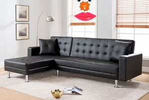 Black faux leather sectional sleeper ( new) for Sale in Colma, CA