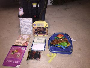Car seat backpack and drawing n coloring utensils for Sale in Huntington Beach, CA