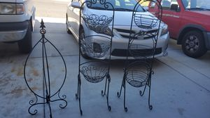 2 metal hanging baskets and 1 metal plant hanger for Sale in Henderson, NV