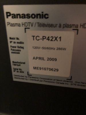 "Panasonic 42"" 720p Plasma TV NO STAND for Sale in Houston, TX"