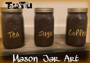 Custom mason Jar Art. ( kitchen set cappuccino & gold ) for Sale in Prairieville, LA