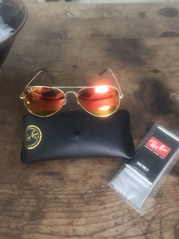 BNIB Ray Ban Rose Gold Reflective Aviator Sunglasses