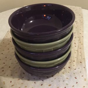Longaberger Pottery Bowls In Sage and Eggplant for Sale in Buffalo, NY
