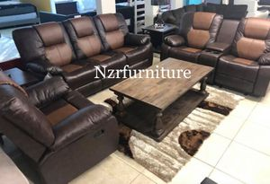"New 3-PC Two Tone Brown Leather Sofa Loveseat & Chair Recliner Set ""Pre-Christmas Sale"" for Sale in Austin, TX"