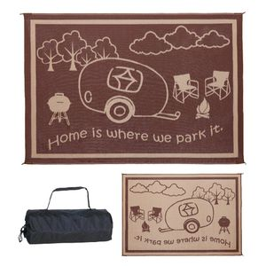 """Ming's Mark 8' x 11' RV Home Outdoor Mat, """"Home is Where We Park It"""", Brown / Beige (RH8117) for Sale in Los Angeles, CA"""