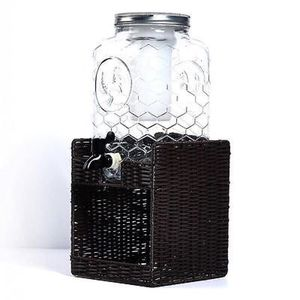 Tabletops Gallery 8-Liter Glass Chicken Wire Drink Dispenser with Double Infuse Insert and Seagrass Base for Sale in Lynn, MA
