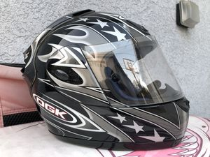 OGK ff3-gp motorcycle helmet black silver flames, Medium/Small, like new with box, bag for Sale in Alhambra, CA