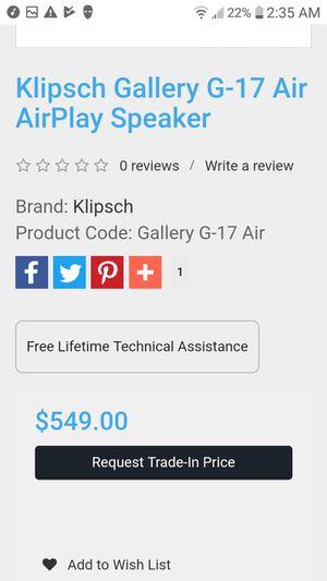 Klipsch gallery G-17 Air play speaker for Sale in Chico, CA