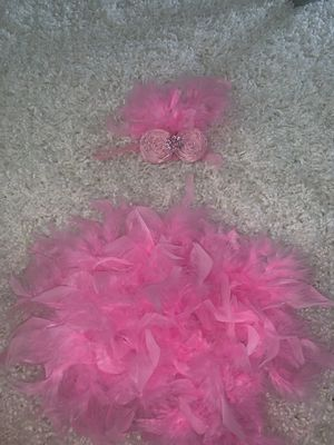 Newborn Feather diaper cover and Headband for Sale in Plainfield, IL