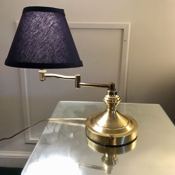 Vintage Mid Century Brass Lamp - Swing Arm w/Shade