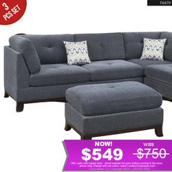 *SPECIAL VALUE* 3Pcs Grey Sectional Sofa + Ottoman + Chase F6479 for Sale in Westminster,  CA