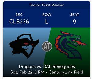 XFL Seattle Dragons vs Dallas Renegades tickets for Sale in Monroe, WA